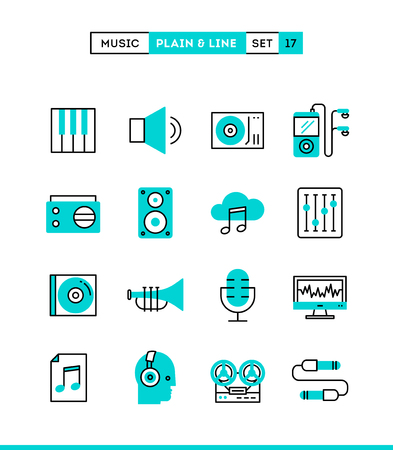 Music, sound, recording, editing and more. Plain and line icons set, flat design, vector illustration Illustration