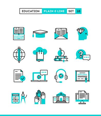 teclado de computadora: Educación, libros en línea, aprendizaje a distancia, seminario y más. Iconos lisos y línea establecidos, diseño plano, ilustración vectorial Vectores