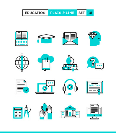 Education,online books, distance learning, webinar and more. Plain and line icons set, flat design, vector illustration Vettoriali