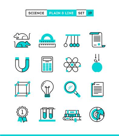 rata: La ciencia, experimentos, laboratorio, estudios y más. iconos lisos y de línea configurados, diseño plano, ilustración vectorial