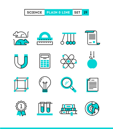 rat: Science, experiments, laboratory, studies and more. Plain and line icons set, flat design, vector illustration