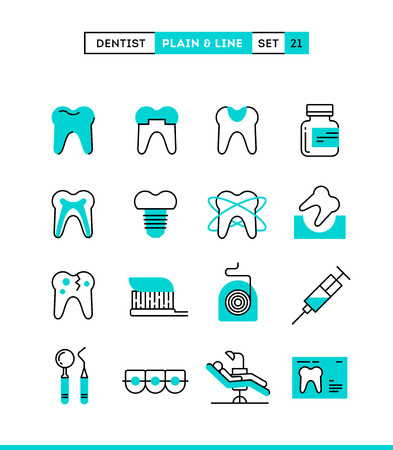 shield: Dentist, dental care, healthy teeth, protection and more. Plain and line icons set, flat design, vector illustration Vectores