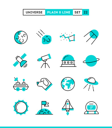 Universe, celestial bodies, rocket launching, astronomy and more. Plain and line icons set, flat design, vector illustration