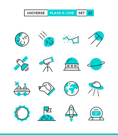 fernrohr: Universum, Himmelskörper, Raketenabschuss, Astronomie und vieles mehr. Schlicht und Linie-Icons gesetzt, flaches Design, Vektor-Illustration