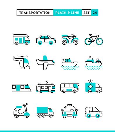 transportation icons: Transportation. Plain and line icons set, flat design, vector illustration