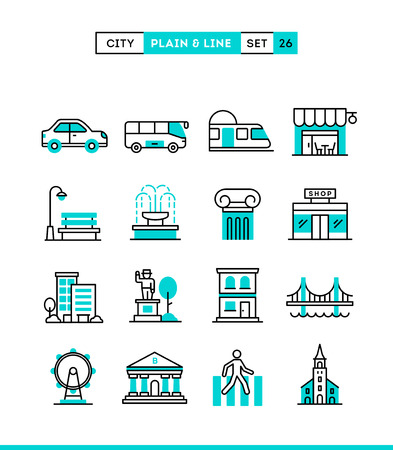 fountains: City, transportation, culture, shopping and more. Plain and line icons set, flat design, vector illustration