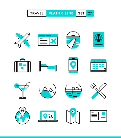 accommodation: Travel, flight, accommodation, destination booking and more. Plain and line icons set, flat design, vector illustration