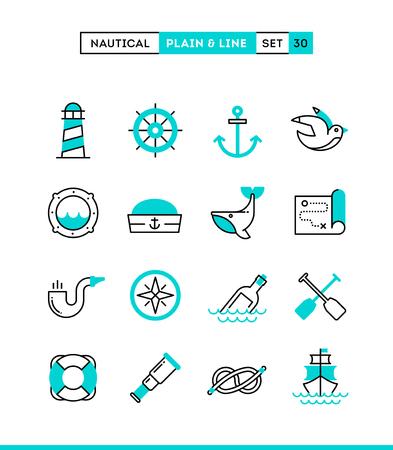 Nautical, sailing, sea animals, marine and more. Plain and line icons set, flat design, vector illustration Vettoriali