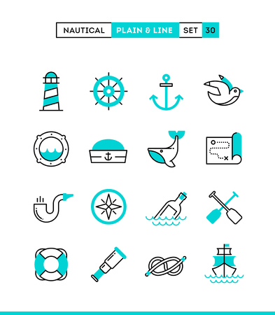 Zeevaart, het varen, zeedieren, marine en nog veel meer. Vlakte en lijn iconen set, platte ontwerp, vector illustratie