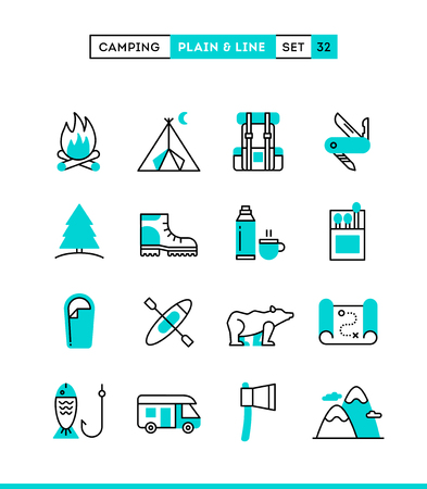 Camping, hiking, wilderness, adventure and more. Plain and line icons set, flat design, vector illustration