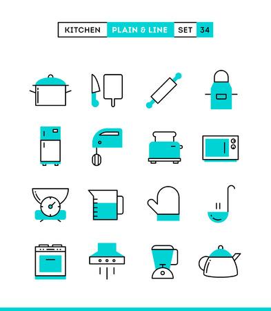 food preparation: Kitchen utensils, food preparation and more. Plain and line icons set, flat design, vector illustration