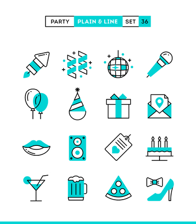 disco speaker: Party, celebration, fireworks, confetti and more. Plain and line icons set, flat design, vector illustration