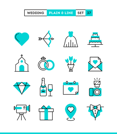 Wedding, bridal dress, event invitation, celebration party and more. Plain and line icons set, flat design, vector illustration Illustration