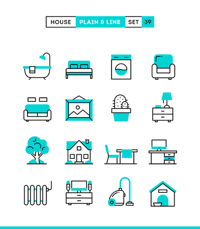 interior design home: Home, interior, furniture and more. Plain and line icons set, flat design, vector illustration