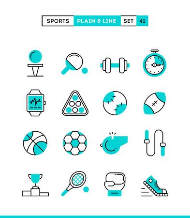 ricreazione: Sport, tempo libero, il lavoro, le attrezzature e altro ancora. Sobri e lineari, impostare le icone, design piatto, illustrazione vettoriale Vettoriali