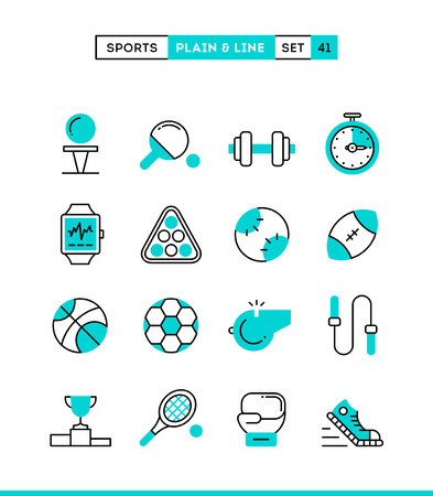line work: Sports, recreation, work out, equipment and more. Plain and line icons set, flat design, vector illustration Illustration