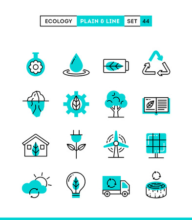 thin bulb: Ecology, nature, clean energy, recycling and more. Plain and line icons set, flat design, vector illustration