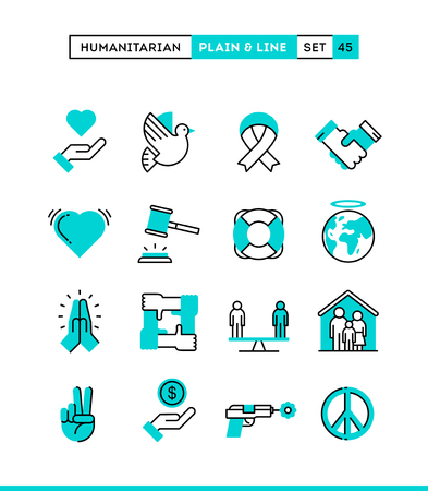 humanitarian: Humanitarian, peace, justice, human rights and more. Plain and line icons set, flat design, vector illustration Illustration