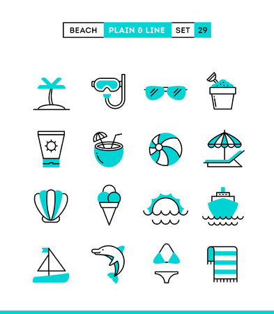 Tropical beach, summer, vacation, cruising and more. Plain and line icons set, flat design, vector illustration