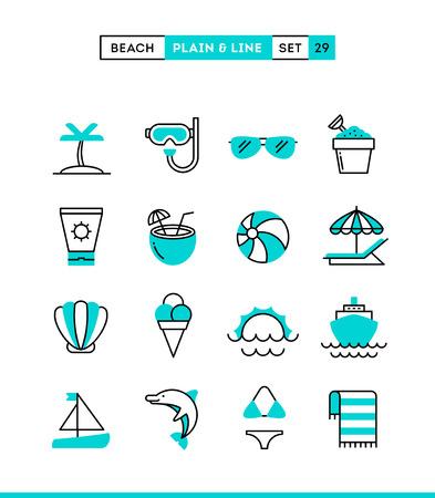 Tropisch strand, zomer, vakantie, varen en nog veel meer. Vlakte en lijn iconen set, platte ontwerp, vector illustratie