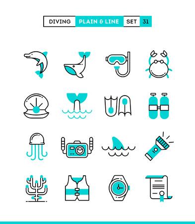 picada: Buceo, animales subacuáticos, equipos, certificado y más. iconos lisos y de línea configurados, diseño plano, ilustración vectorial Vectores