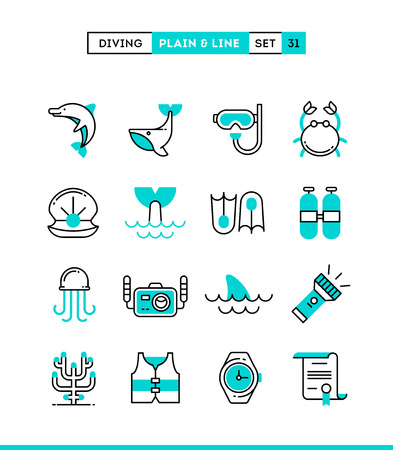 sea fishing: Scuba diving, underwater animals, equipment, certificate and more. Plain and line icons set, flat design, vector illustration