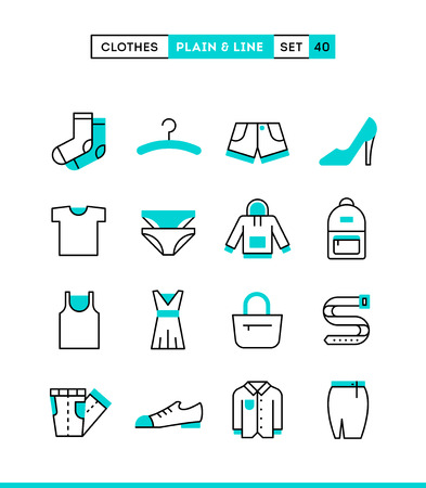clothing: Clothing. Plain and line icons set, flat design, vector illustration