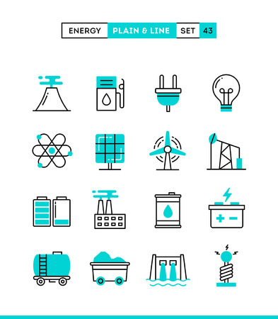 Power, energy, electricity production and more. Plain and line icons set, flat design, vector illustration Vettoriali