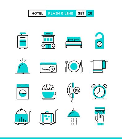 letti: Hotel, albergo, servizio in camera, ristorante e altro ancora. Sobri e lineari, impostare le icone, design piatto, illustrazione vettoriale