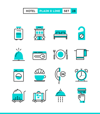 Hotel,accommodation, room service, restaurant and more. Plain and line icons set, flat design, vector illustration Vectores