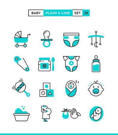 sonaja: Bebé, embarazo, nacimiento, juguetes y más. iconos lisos y de línea configurados, diseño plano, ilustración vectorial