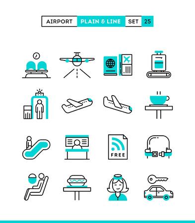 asiento coche: Aeropuerto, escaneo de equipaje, vuelo, alquiler de coches y mucho más. Iconos lisos y línea establecidos, diseño plano, ilustración vectorial