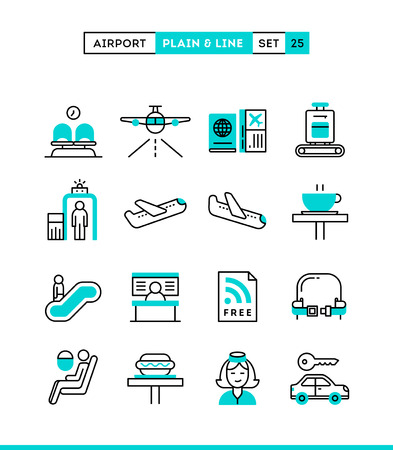 Airport, luggage scanning, flight, rent a car and more. Plain and line icons set, flat design, vector illustration Vettoriali