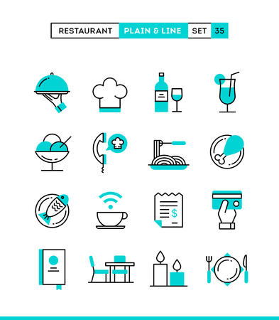 Restaurant, phone ordering, meal, receipt and more. Plain and line icons set, flat design, vector illustration Stok Fotoğraf - 49965455