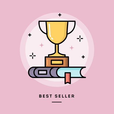 best book: Best seller book, flat design thin line banner, usage for e-mail newsletter, web banners, headers, blog posts, print and more