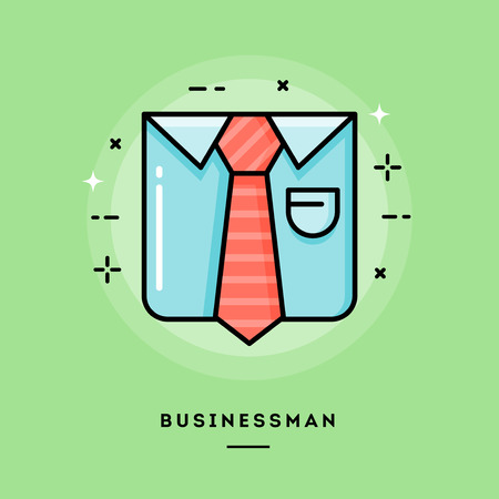 by the collar: Businessman, flat design thin line banner, usage for e-mail newsletter, web banners, headers, blog posts, print and more