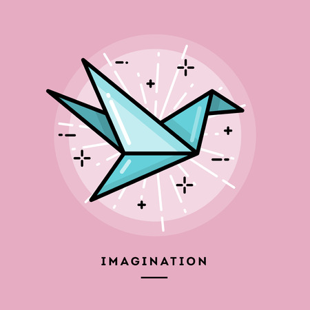 insight: Imagination, flat design thin line banner, usage for e-mail newsletter, web banners, headers, blog posts, print and more Illustration