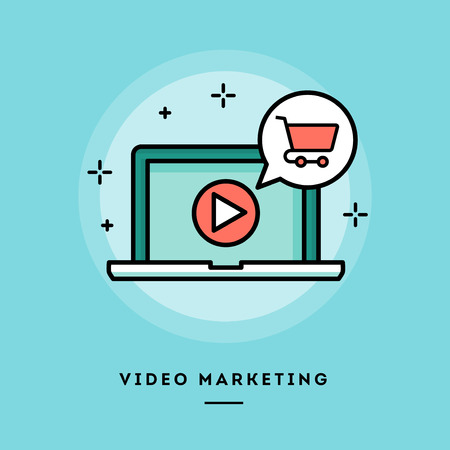 blog design: Video marketing, flat design thin line banner, usage for e-mail newsletter, web banners, headers, blog posts, print and more