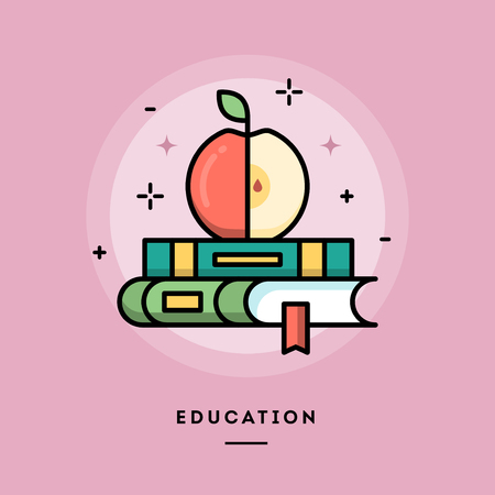 preparatory: Education, flat design thin line banner, usage for e-mail newsletter, web banners, headers, blog posts, print and more Illustration