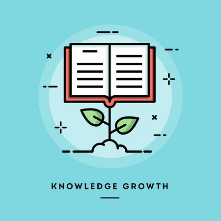 conocimiento: crecimiento del conocimiento, diseño de la bandera plana delgada línea, el uso de boletín de correo electrónico, banners web, cabeceras, entradas de blog, imprimir y más