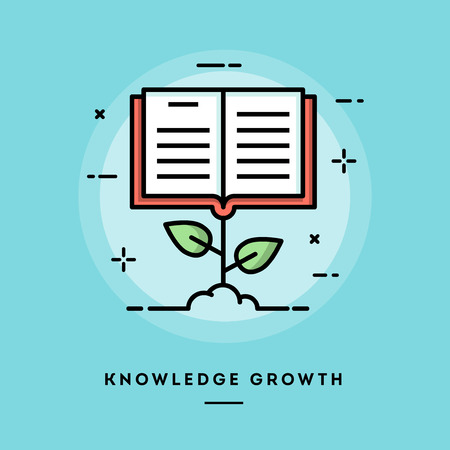 knowledge concept: Knowledge growth, flat design thin line banner, usage for e-mail newsletter, web banners, headers, blog posts, print and more