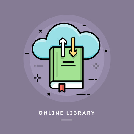 usage: Online library, flat design thin line banner, usage for e-mail newsletter, web banners, headers, blog posts, print and more
