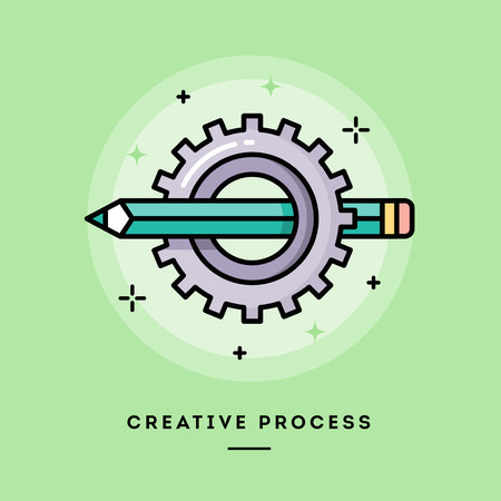 idea cartoon: Creative process, flat design thin line banner, usage for e-mail newsletters, web banners, headers, blog posts, print and more
