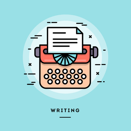 Typing machine, flat design thin line banner, usage for e-mail newsletters, web banners, headers, blog posts, print and more Stock Illustratie
