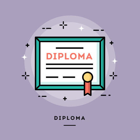 cartoon graduation: Diploma, flat design thin line banner, usage for e-mail newsletters, web banners, headers, blog posts, print and more Illustration