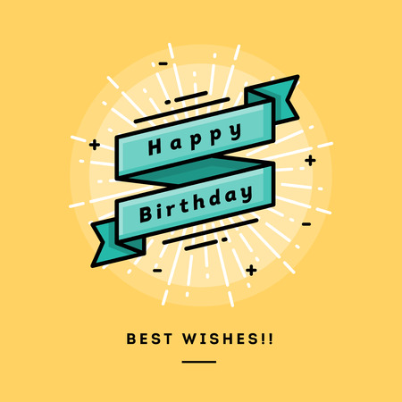 sol caricatura: Feliz cumpleaños, diseño plano delgada línea bandera, el uso de boletines de correo electrónico, banners web, cabeceras, blogs, impresión y más Vectores