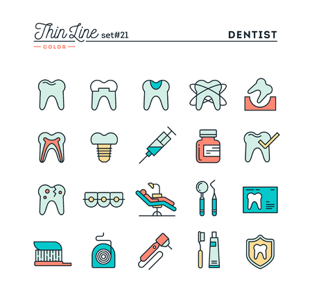 drill: Dentist, dental care, healthy teeth, protection and more, thin line color icons set, vector illustration