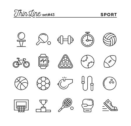 soccer coach: Sports, recreation, work out, equipment and more, thin line icons set, vector illustration
