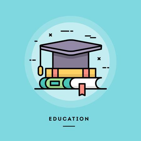 教育、フラット デザイン細い線バナー、メール マガジン、web バナー、ヘッダー、ブログの記事、印刷および用途  イラスト・ベクター素材