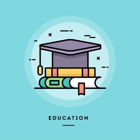 Education, flat design thin line banner, usage for e-mail newsletters, web banners, headers, blog posts, print and more